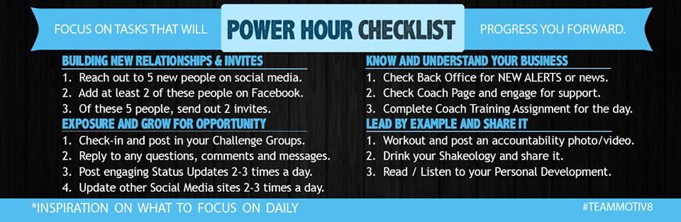 Power hour to do list